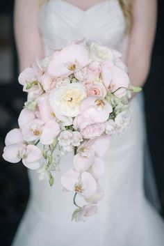 Soft Pink Wedding Bouquets To Fall In Love With ★ pink wedding bouquets white orchids sean money elizabeth fay photography Bouquet Pastel, Orchid Bridal Bouquets, Cascade Bouquet, White Wedding Bouquets, Bride Bouquets, Floral Wedding, Wedding Day, Greenery Bouquets, Peonies Bouquet