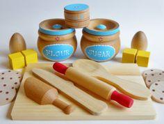 Toy Baking Set Wooden Baking Set Waldorf Baking by 2HeartsDesire, $40.00