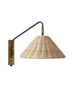 Flynn Single Wall Sconce - Flynn Single Wall Sconce - Serena & Lily: x overall. Arm extends from the wall. Backplate: x Wicker Shade: x - Rattan, Wicker, Chandelier Design, Diy Lampe, Brass Sconce, Amber Interiors, Interior Photography, Profile Design, Chandeliers