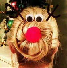 Reindeer bun. Cute idea for a little girl!