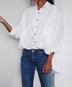 @roressclothes clothing ideas #women fashion white blouse, jeans.