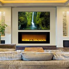 Touchstone Sideline 60 Recessed Electric Fireplace – Wall Insert Design fits flush on the wall for a clean, contemporary look. Realistic flames with five settings add ambiance to any … Fireplace Tv Wall, Faux Fireplace, Fireplace Remodel, Fireplace Mantels, Fireplace Ideas, Fireplace Seating, Small Fireplace, Mantel Ideas, Fireplace Feature Wall