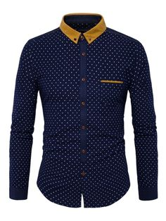 Polka Dot Shirt Men 2017 Fashion Patchwork Men's Shirt Long Sleeve Slim Fit Chemise Homme Casual Button Down Mens Dress Shirts African Shirts For Men, African Dresses Men, Cheap Button Down Shirts, Polka Dot Shirt, Polka Dots, Suit Fashion, Shirt Style, Casual Shirts, Ideias Fashion