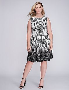 347378f1b9384 Printed Scuba Fit  amp  Flare Dress by Gabby Skye