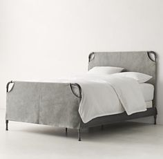 RH TEEN& Vox Iron Slipcovered Bed:Putting the pedal to the metal. Minimalist industrial design makes a major statement with our tubular steel bed. The headboard and footboard are fitted with a canvas slipcover, leaving the frame corners exposed. Headboard Cover, Headboard And Footboard, Headboards, Teen Boy Bedding, Big Boy Bedrooms, Steel Bed, Bed Furniture, Home Bedroom, Master Bedroom