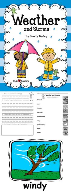 This packet is 20 pages and includes:  - 9 colored pictures of different types of weather and storms  - 9 black and white pictures of different types of weather and storms  - 2 pages of activity sheets where the student or teacher reads the weather words and then a line is drawn to match the words to the pictures.  Found at: www.teacherspayteachers.com/Store/Helps4teachers
