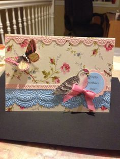 Anna Griffin inspired card using lace trimmings embossing folders and dies.