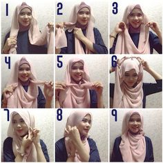 I love this hijab tutorial, it has a beautiful flowing line and is smartely tight back without any pins, it's surely a summer hijab style and it's a little bit loose, you can try out many colors for this look! Tutorial Hijab Modern, Hijab Style Tutorial, Hijab Dress, Hijab Outfit, Hijab Fashion Inspiration, Style Inspiration, How To Wear Hijab, Stylish Hijab, Makeup Makeover