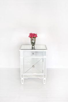 Claudette White #Nightstand Mirrored nightstand with painted white edge and crosshatch detailing. #WorldsAway #Furniture