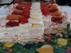 Un momento dulce: TARTA SANDWICH SUECA (Smörgåstårta) Xmas Food, Empanadas, Churros, Quiche, Tapas, Salmon, Buffet, Sandwiches, Cheesecake