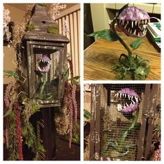 Paper-mâché man eating plant placed in a decorated cage.