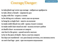 Expressions related to Courage and Facing Danger