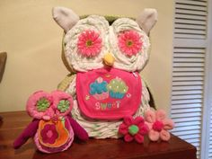 Mom and baby diaper owl's made from diapers baby washcloths and baby blankets
