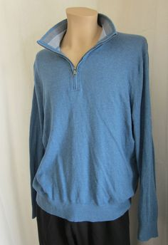 Banana Republic Men's Silk Blend 1/2 Zip Pullover Sweater Blue XL XLarge #BananaRepublic #12Zip