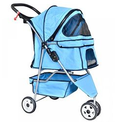 Pet Stroller Cat Dog 3 Wheel Walk Stroller Travel Folding Carrier BLUE ** New and awesome dog product awaits you, Read it now  : Dog strollers