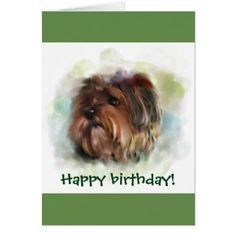 #Happy birthday! Cute Yorkshire Terrier Art Card - #yorkshire #terrier #puppy #terriers #dog #dogs #pet #pets #cute #yorkshireterrier