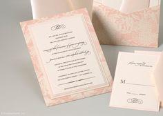 Pale Pink Floral Pocket Invitation
