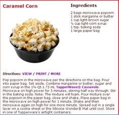 Tupperware Caramel Corn Recipe! Great Special on our Stack Cooker, Just in time for the Holiday Cooking! Follow the link for more! www.my.tupperware.com/catherineboltz