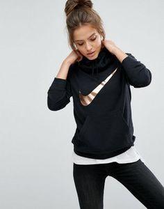 Nike – Schwarzer Kapuzenpullover mit Swoosh-Logo in Metallic-Optik