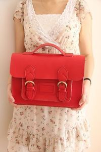 Image of Handmade Genuine Leather Satchel / Messenger Bag / Backpack-Red, green, yellow