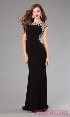 Image of long beaded back cap sleeve black dress Style: FB-GL2039 Front Image