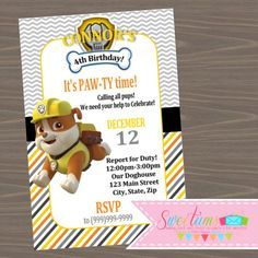 Paw Patrol Rubble party invitations