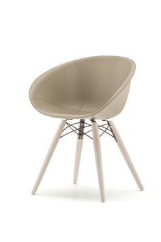 Gliss 904-F (HERPED904-F) Gliss Wood chair is dedicated to those who want to relax without renouncing at functionality and elegance. Injection moulded technopolymer shell, the legs are in ash timber. The ash wood can be bleached or black stained, the tecnopolymer can be white or sand.