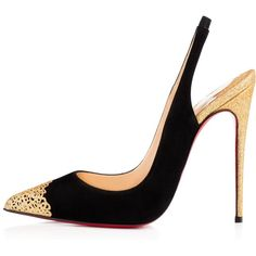 CHRISTIAN LOUBOUTIN Almine Sling 120Mm Black Glitter (€745) ❤ liked on Polyvore featuring shoes, sandals, high heel sandals, black slingbacks, black slingback shoes, black shoes and sling back sandals