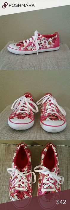 Coach Barrett pink white floral casual sneakers Coach Barrett sneakers, white, pink, orange print, pre-owned-see pics, size 8 1/2 Coach Shoes Sneakers