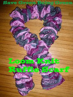 Loom Knit Ruffle Scarf done on the Knifty Knitter Spool Loom #loomknitting #kniftyknitter