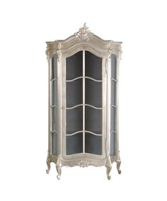 The Fleur French display cabinet is a truly classic piece of furniture. Features a glass display case, silver leaf finish and extensive carvings throughout this beautifully crafted piece of French style furniture. Sitting upon four club feet this display Steel Furniture, French Furniture, Kitchen Furniture, Furniture Storage, Cream Furniture, Hall Furniture, Glass Furniture, Door Furniture, Furniture Movers