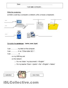 computer vocabulary - English ESL Worksheets for distance learning and physical classrooms Science Worksheets, Vocabulary Worksheets, Worksheets For Kids, Kindergarten Worksheets, Printable Worksheets, In Kindergarten, Free Printable, Computer Lessons, Computer Basics