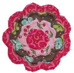 """Bunnycup Embroidery! This """"Raggedy Flowers Applique"""" design looks fabulous and easy to sew. This design is available in hoop size of 4x4 and 5x7. #appliqueembroiderydesigns #discountembroiderydesigns"""
