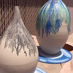 """3,944 Likes, 42 Comments - Kevin Kowalski (@kowalskipottery) on Instagram: """"Pouring cobalt blue oxide mixed with beer over fresh slip on top of this greenware teardrop vase.…"""""""