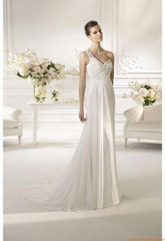 Einschulter Kolumne  Elegante Brautkleider 2014 aus Chiffon mit Applikation