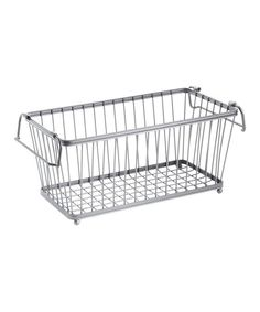 Organize loose items with this wire basket, or fold the handles in to stack one on top of another for increased vertical storage.