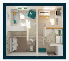Перепланировка недели: однокомнатная квартира в панельном доме Sims House Plans, Small House Plans, House Floor Plans, Studio Apartment Layout, Apartment Design, Tiny Apartments, Tiny Spaces, Small Space Interior Design, Interior Design Living Room