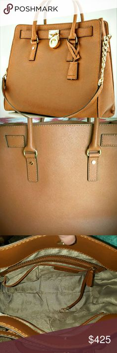 SAFFIANO LEATHER TOTE LARGE HAMILTON Nwot EXCELLENT CONDITION INSIDE AND OUTSIDE NO STAINS OR RIPS OR TEARS WHATSOEVER OF ANY KIND WHATSOEVER,  SMOKE FREE PET FREE HOME, NO DUST BAG CAME WITH IT ?????? MICHAEL KORS HAMILTON SAFFIANO LEATHER TOTE LARGE  Bags Totes