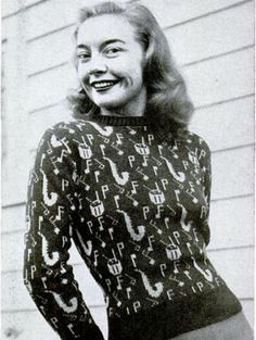 Novelty print sweater c.1940s.