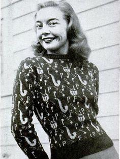 Novelty print sweater c.1940s.