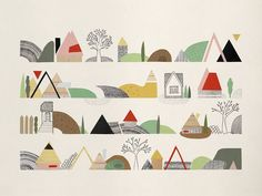 Contexts City Landscapes by Angela Corti - Toi Gallery Landscape Drawings, City Landscape, Landscape Illustration, Botanical Illustration, Illustration Art, Landscapes, Graphic Illustrations, Colorado Springs, Create Collage