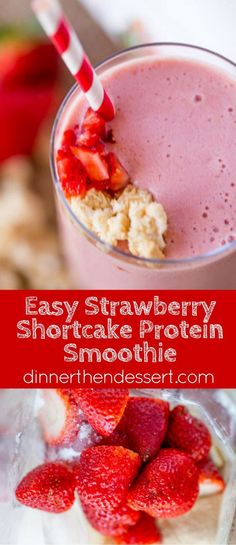 Strawberry Shortcake Smoothie made with Burt's Bees Vanilla Protein Shake powder makes the most amazing cake-y healthy smoothie you'll want to help shake up healthier eating. #drinkitallin