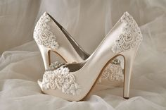 Silk Lace Wedding Shoes  Custom Color Choices Wedding by Pink2Blue
