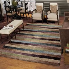 Carolina Weavers Grand Comfort Collection Cool Stripes Multi Shag Area Rug (7'10 x 10'10)
