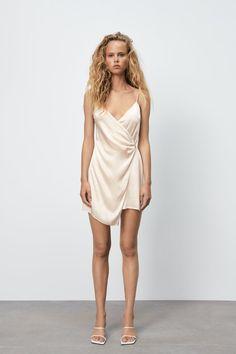 SATIN EFFECT WRAP DRESS - Beige-pink | ZARA United Kingdom V Neck Dress, Dress Skirt, Wrap Dress, Color Rosa Claro, White Slip, Draped Fabric, Zara Dresses, Summer Wedding, Double Breasted