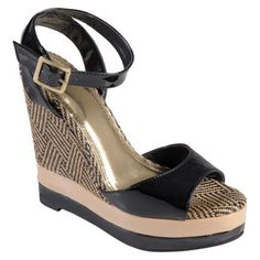 hailey jeans co womens patent open toe ankle strap wedge in black. $34.99. love the design on the wedge!