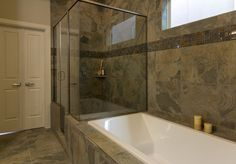 The master bathroom in The Asbury Manor in Houston, Texas. The slate in this bathroom is stunning.