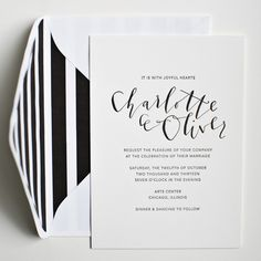 Kristina Brocks Modern Black and White Wedding Invitations
