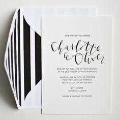 Invitation by Yes Ma'am Calligraphy | Brooklyn Bride
