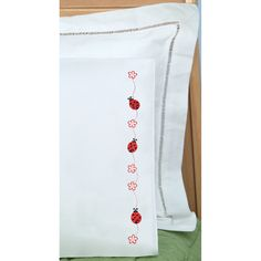 Children's Stamped Pillowcase With White Perle Edge 1/Pkg-LadybugsChildren's Stamped Pillowcase With White Perle Edge 1/Pkg-Ladybugs,